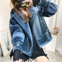Leather Fluffy Wool Coat Women Short Furry Fake Fur Coat Winter Outerwear Blue Coat Casual Party Warm Overcoat