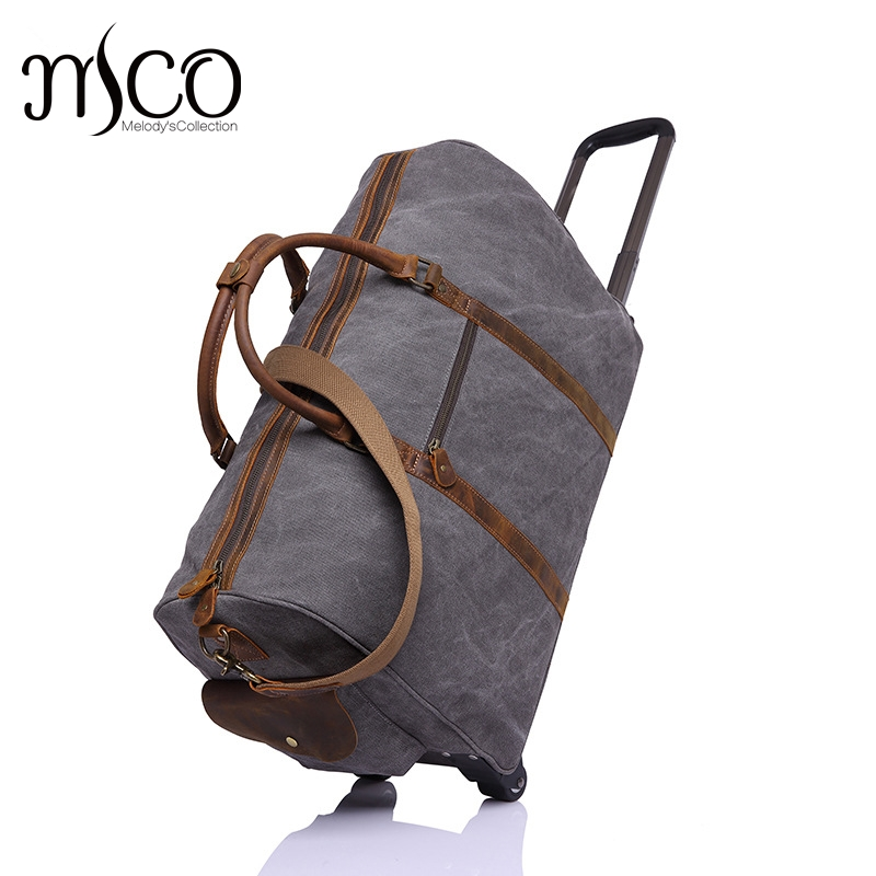 Melodycollection Canvas Leather Men Travel Bags Carry on Luggage Bags Men Duffel Bags Travel Tote Large Weekend Drawbar Bag japanese pouch small hand carry green canvas heat preservation lunch box bag for men and women shopping mama bag