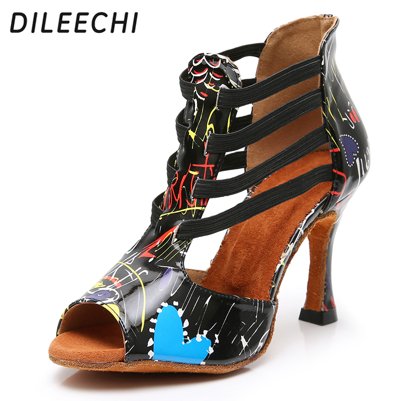 DILEECHI Latin dance shoes Multicolor pattern blue PU party dance shoes Women Ballroom dancing shoes adjust width cuban heel 9mm(China)