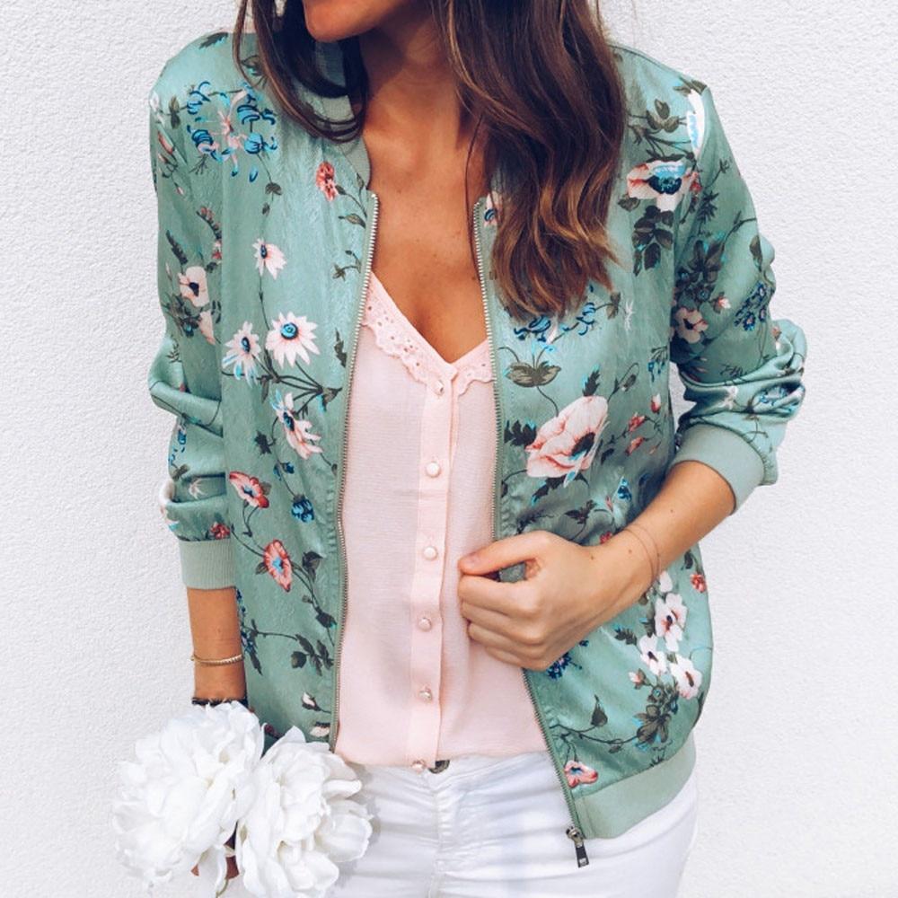 Women   Jackets   Flower Floral Print Retro Ladies Zipper Up Short Thin Slim Bomber   Jacket   Coats   Basic   Casual Outerwear W510