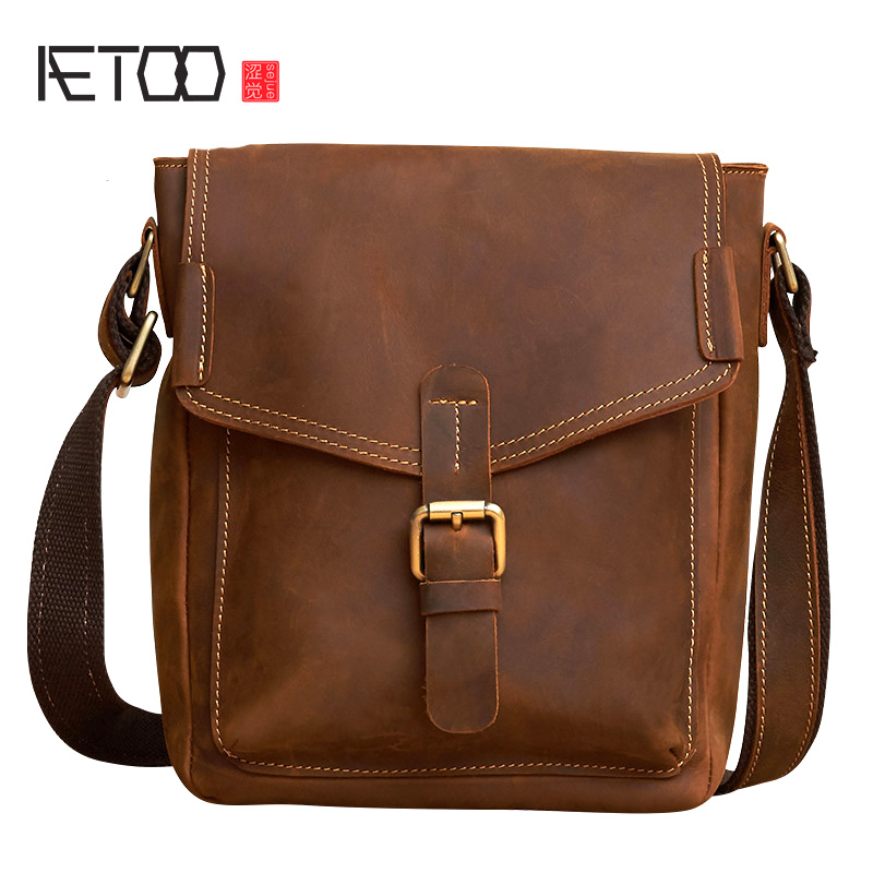 AETOO Genuine Leather Men bags Fashion Brand Designer Handbags Shoulder Vintage Retro Cow Bags Men Messenger Bags Briefcase зонт doppler 72759 k