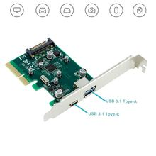 PCI-E 4X To USB 3.1 Type-C Type-A SATA Power Supply Dual Port Hard Disk Desktop Computer Express Controller Adapter Card EM88