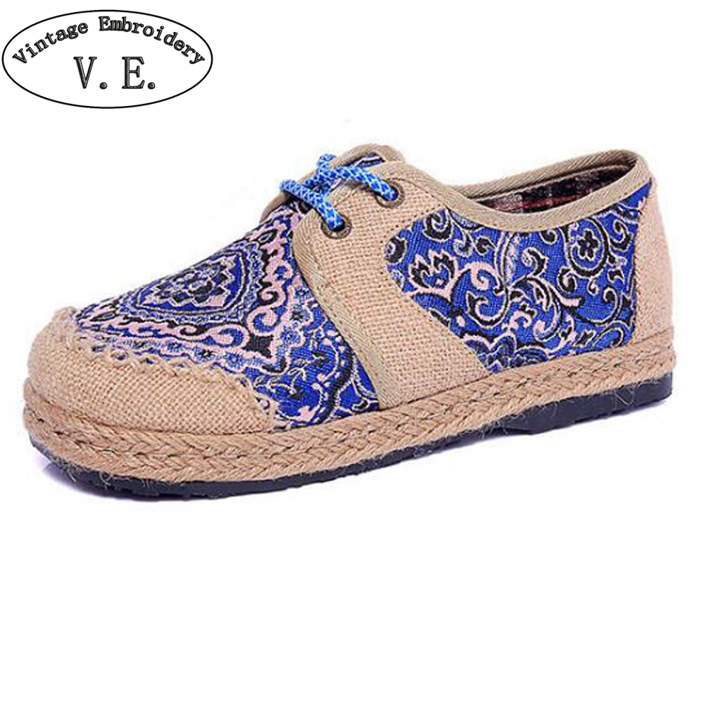 Thailand Women Linen Shoes Vintage Boho Cotton Canvas Floral Embroidered Flats Cloth Lace Up Soft Woven Round Toe Shoes Woman chinese women flats shoes vintage boho