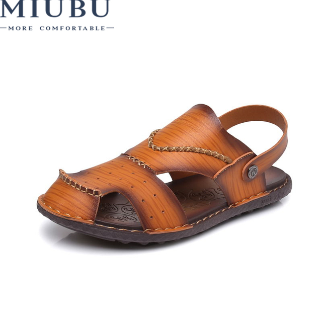 7e603d8aeeb3 MIUBU Men s Sandals 2019 Summer New Genuine Leather Beach Shoes Men s  Casual Sandals Slippers Youth Leather Fashion Shoes