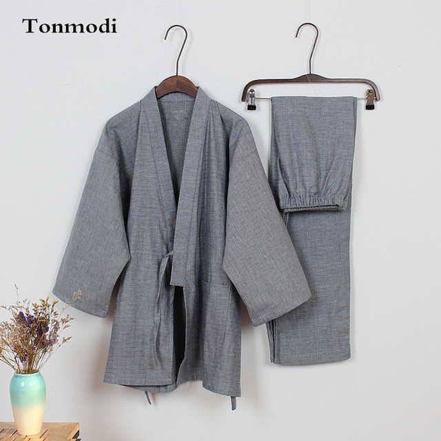 Мужской кимоно пижамы хлопка двойной слой марли пижамы Мужчины lounge пижамы установить хан пара одежда bathoses