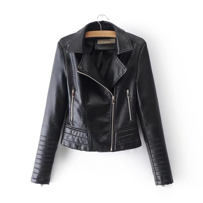 2018 spring/autumn new zipper motorcycle PU   leather   jacket female, pure color handsome thin embossed PU   leather   jacket women's