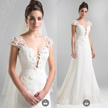 Vestido de Casamento 2015 Elegant Lace Wedding Dress V Neck Cap Sleeve A Line Bridal Gowns Bandage Floor Length W3505