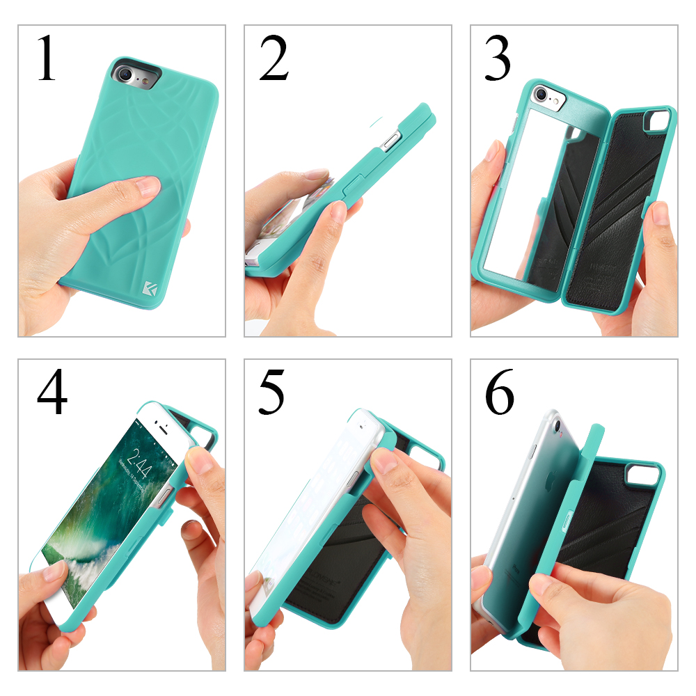 FLOVEME Mirror Case For iPhone 6 6s 7 Plus Wallet+Card Slot Cover Makeup Phone Cases For Apple iPhone 8 X 7 Plus 10 Woman Coque 4