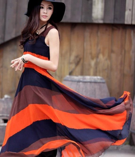 c30700abf7 2015 New Fashion Bohemian orange blue stripes Maxi Dress long style women s  Sleeveless chiffon beach dress-in Dresses from Women s Clothing on ...