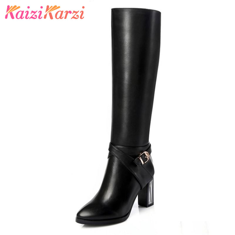 купить KaiziKarzi Real Natrual Genuine Leather High Heel Knee Boots Square Toe Zipper Brand Heels Footwear Shoes Size 31-45 N00066 по цене 4963.14 рублей