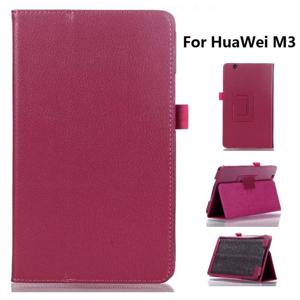 2 Section Foldable Litchi Pattern Protective Case Cover For Hua Wei M3