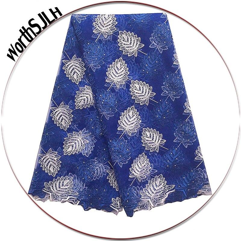 Royal Blue Afrikaanse kant stof nieuwe Mesh Net Zwitserse kant - Kunsten, ambachten en naaien