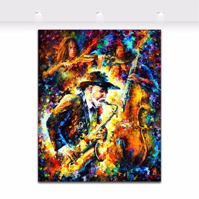 US $99 71 41% OFF|Jazz Music Saxophone Soul Musician Palette Knife Oil  Painting Picture Art Painted On Canvas For Home Office Hotel Wall Decor-in