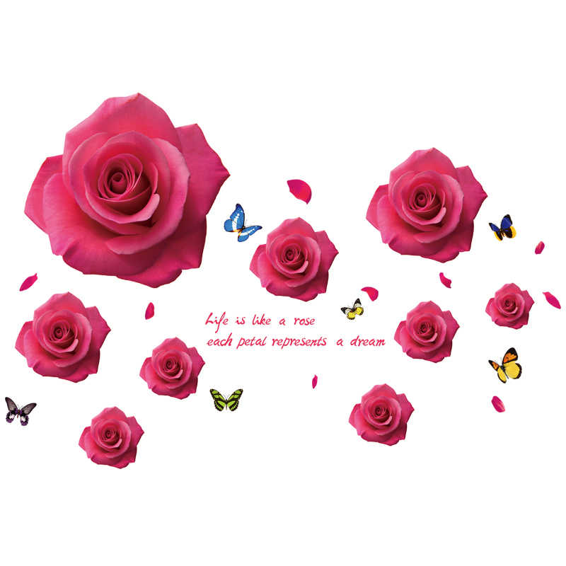 [SHIJUEHEZI] Cartoon Little Angels Wall Stickers PVC DIY Red Roses Flower Wall Decals for Living Room Bedroom Decoration