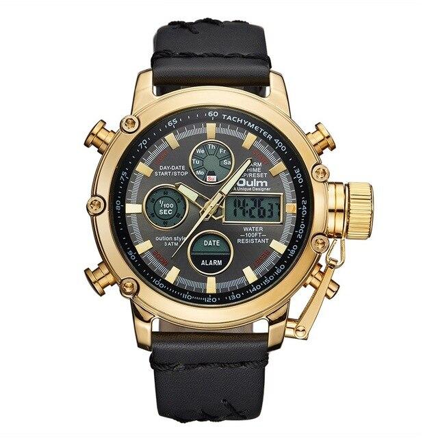 b1e8080d86b Oulm Esporte Dupla Afixação Relógios de Couro Genuíno dos homens Relógio de  Pulso do Alarme do