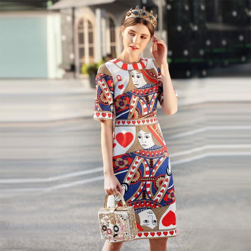 2018 New Spring Fashion Poker Print Vintage Dress Fashion Pretty Half Sleeve Knee Length Slim Women Retro Dress