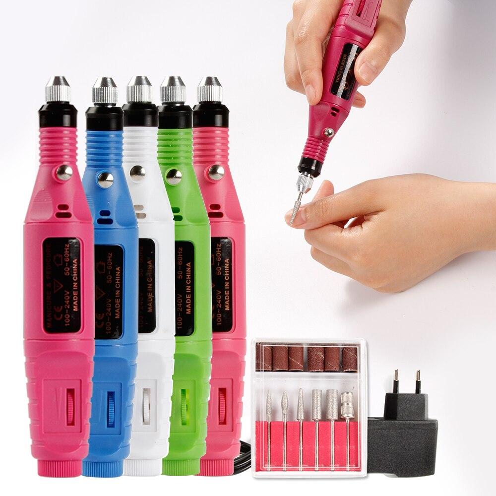 Eléctrico aparato para manicura ee.uu./UE pedicura máquina brocas Set cutícula Nail Art acrílico Gel Remover máquina