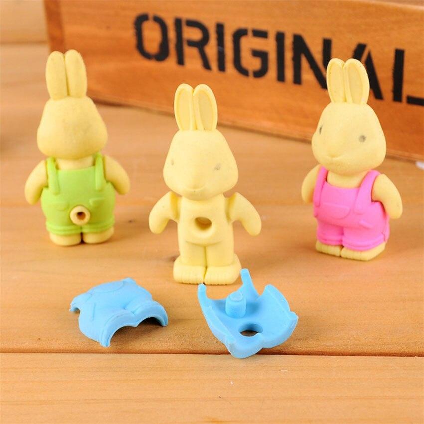 3D Kawaii Bib Pants Dressed Rabbit Eraser Rubber Pencil Erasers Non-Toxic Student Stationery School Rewards Office Supplies New
