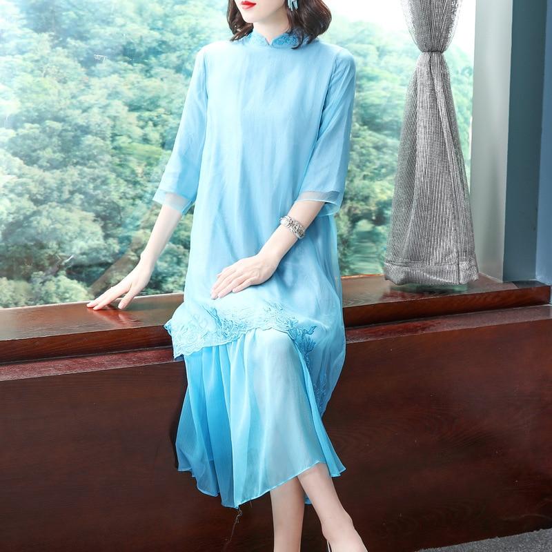Top qualité marque chinois Robe 2019 printemps été femmes Organza broderie 3/4 manches grande taille Robe bleue Robe Femme Vestido - 2
