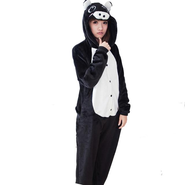 d58756999 Couple Black Pink Pig Flannel Kigurumi Pajamas For Adult Onesie ...