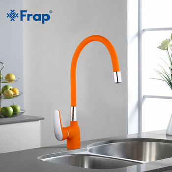 Frap New Arrival Orange Silica Gel Nose Any Direction Kitchen Faucet Cold and Hot Water Mixer Torneira Cozinha Crane F4453-02 - discount item  43% OFF Kitchen Fixture
