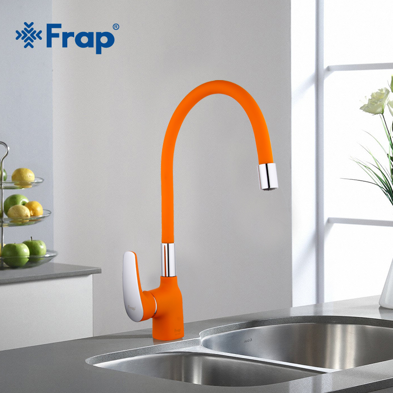 Frap New Arrival Orange Silica Gel Nose Any Direction Kitchen Faucet Cold and Hot Water Mixer Torneira Cozinha Crane F4453-02