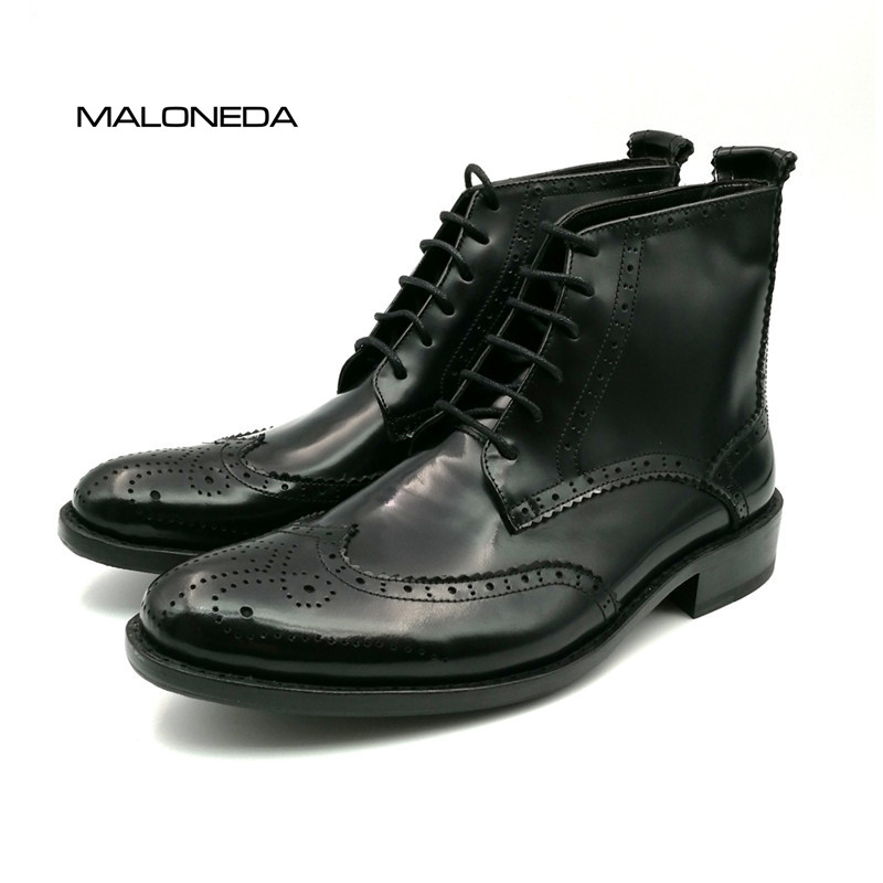 MALONEDA Bespoke Retro Men's 100% Genuine Leather Lace-up Handmade Goodyear Welted Brogue Short Boots Shoes стоимость