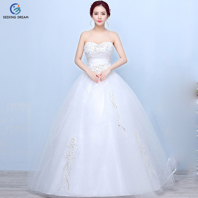 2017 Summer New Ivory White Ball Gown Dress Strapless Wedding Elegant Bride Laceup Back Princess