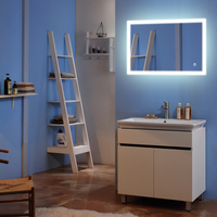 Touch LED Wall Mirror Decoration 36x 36 Square Mirror External Light Strip Decorative Mirrors For Bathroom