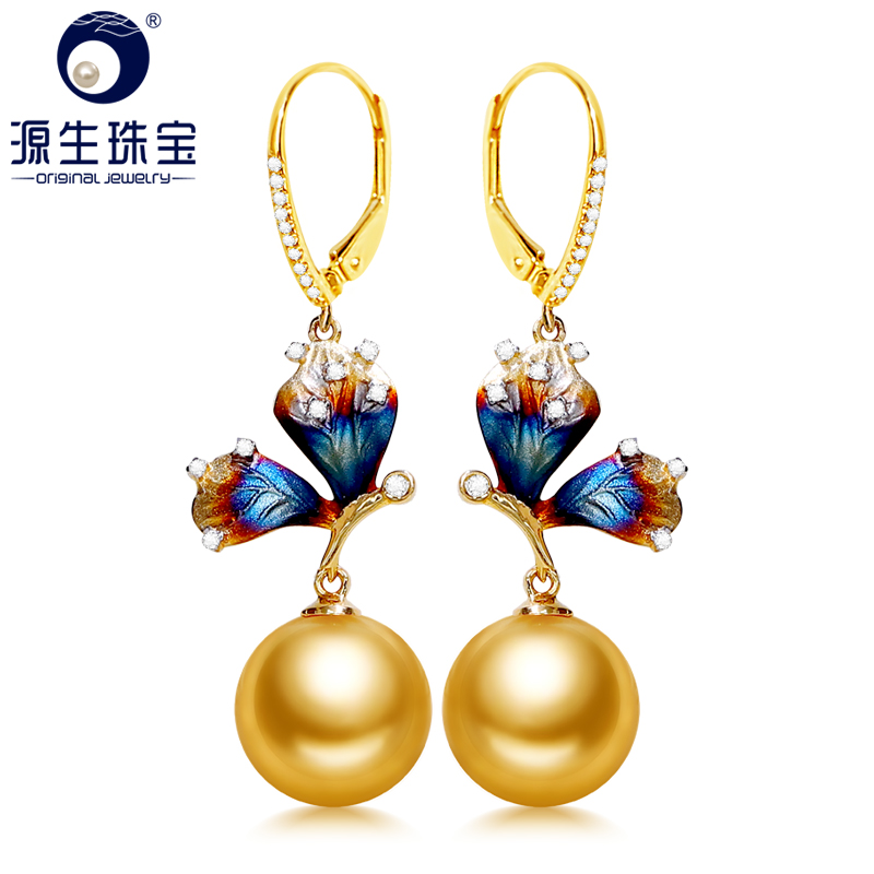 YS 10-11 mm Natural Seawater South Sea Pearl Earring 14K Real Gold Graceful Earring