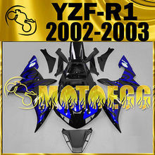 Motorcycle ABS plastic Injection Molded Fairings For YZF-R1 YZF R1 2002-2003 Blue Flames Y12M03