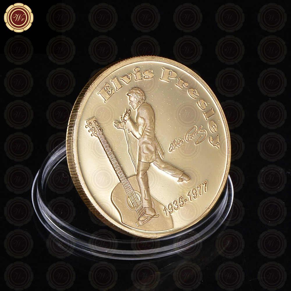 Chất Lượng cao Elvis Presley 1935-1977 Đồng Xu Bán Buôn Bình Thường Mạ Vàng Các Vua của Rock 'n' Roll Đồng Xu Quà Tặng đối với Khuyến Mãi