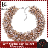 DiLiCa Handmade Bib Statement Necklace for Women Beads Necklace Choker Fashion Collar Necklaces Charms Chokers Jewelry Collares