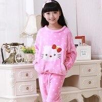 New 2017 Girls Pajamas Warm Thicken Autumn Winter Flannel Pijamas Mujer Children Coral Fleece Cartoon Pajamas