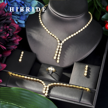 HIBRIDE Trendy Luxury African Necklace Earring Set Jewelry Set For Women Wedding Zircon  CZ Dubai Bridal jewelry Set N-32