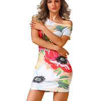 New Fashion Summer Dress 2016 Runway Designer Style Women Dress Flowers Print Slim Mini Casual Party