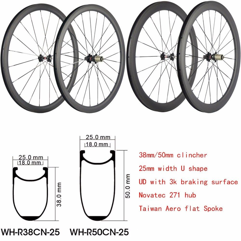 Super Léger chinois Carbone Roues 38mm 50mm Profil de Profondeur Tubulaire Ou Pneu Vélo De Route Roues Carbone Vélo Roue