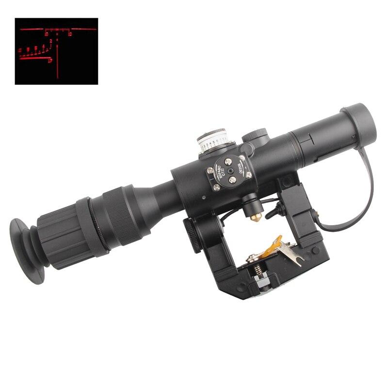 Viseur de portée de fusil illuminé rouge 4x26 pour SVD Dragunov pour HT6-0012 de tir de chasse tactique