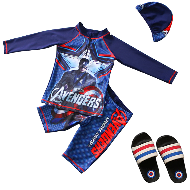 Avenger-Captain America Surf Swimwear 2019 Children Swimsuit 3 Piece Swimming Suit With Cap Cartoon Bathing Suit For Kids 3-9Y
