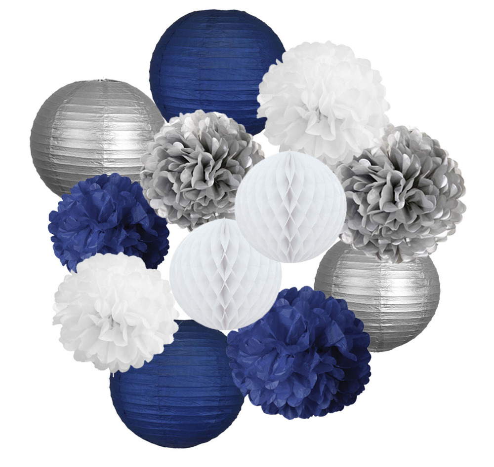Detail Feedback Questions About 12pcs Party Decoration Mixed Navy Blue Silver White Paper Lanter Tissue Pom Poms For Boys Birthday Baby Shower Father Day On