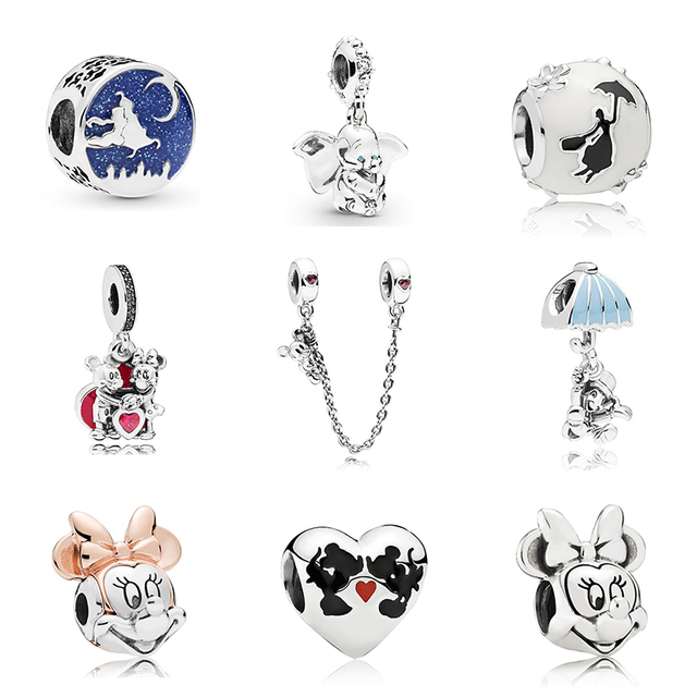 Free Shipping Sliver Plated Bead Mickey Fairytale Dumbo Love Charm Fit Pandora Bracelet Necklace