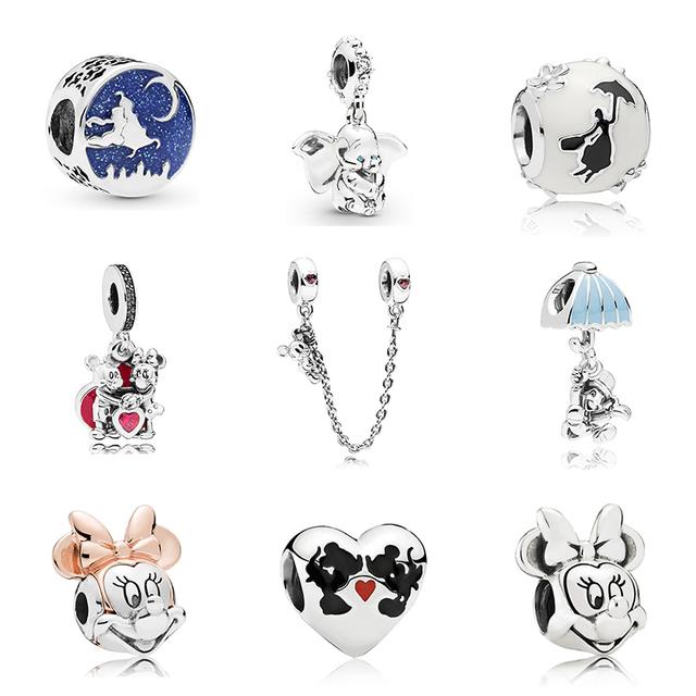 Envío gratis Mickey Chapado en plata de cuento de hadas Dumbo amor encanto Fit pulsera de Pandora collar de joyería