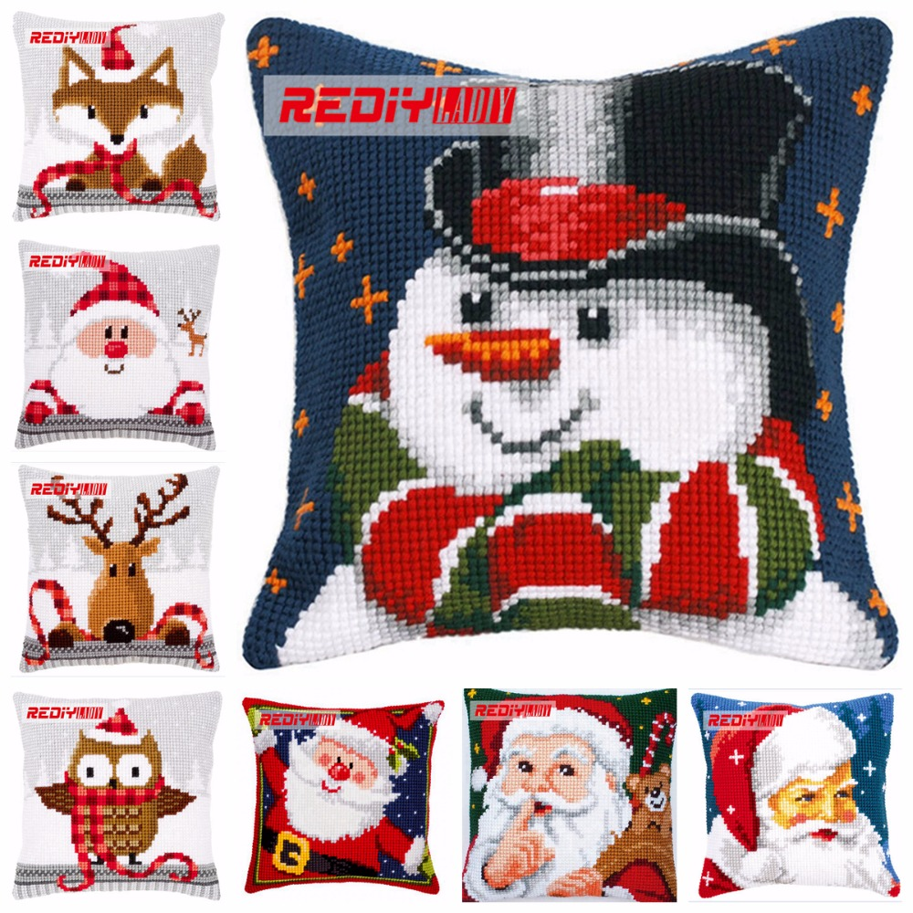 LADIY Cross Stitch Patterns SANTA Pillow Cover DMC Counted Cross-Stitch Kits Christmas Cushions For Sofas Decorati