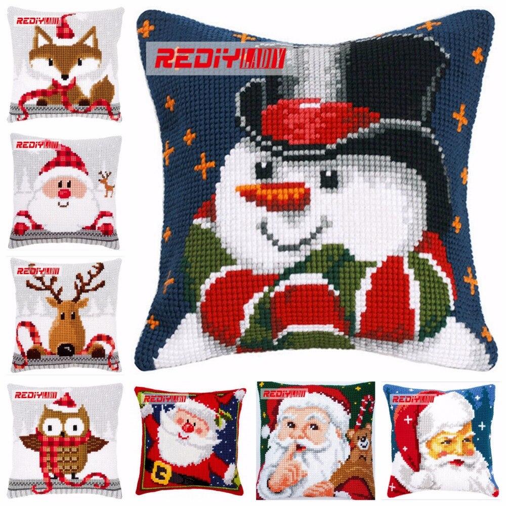 LADIY Cross Stitch Patterns SANTA Pillow Cover DMC Counted Cross-Stitch Kits Christmas Cushions For Sofas Decorati