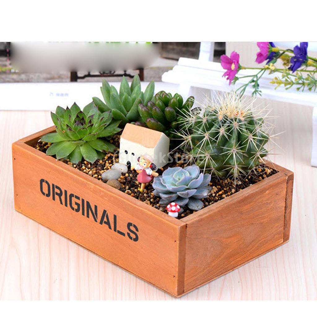 rustic wooden succulent plant herb flower bed pot box garden planter in flower pots planters. Black Bedroom Furniture Sets. Home Design Ideas