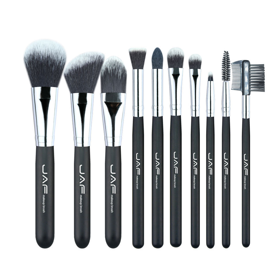 JAF Pro 10PCS Makeup Brush Set Foundation Powder Blush Soft Taklon Fiber Make-up Brushes Tool Kit Pincel Maquiagem multifunction liquid foundation brush pro powder makeup brushes set best selling make up tool 2016