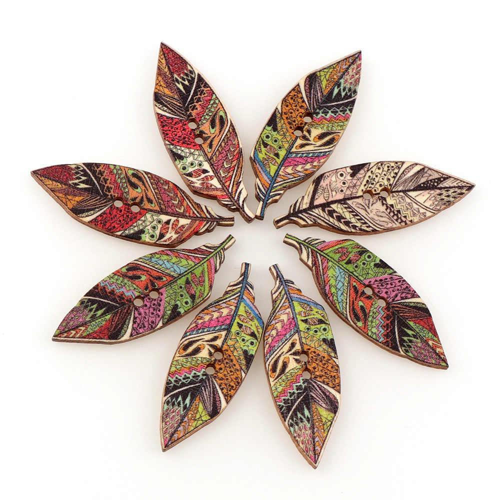 50 sztuk 15*42mm Mix kolor czechy styl liści kształt drewniane przycisk z 2 otworami Scrapbooking do szycia ubrania DIY Handmade Craft
