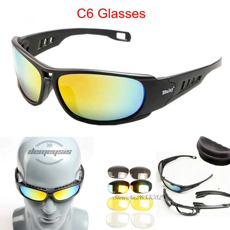 ee71d39cf1 ... Daisy Polarized Army Goggles Cycling Glasses Military Sunglasses 4 Lens  Men s Outdoor War Game Tactical Glasses ...