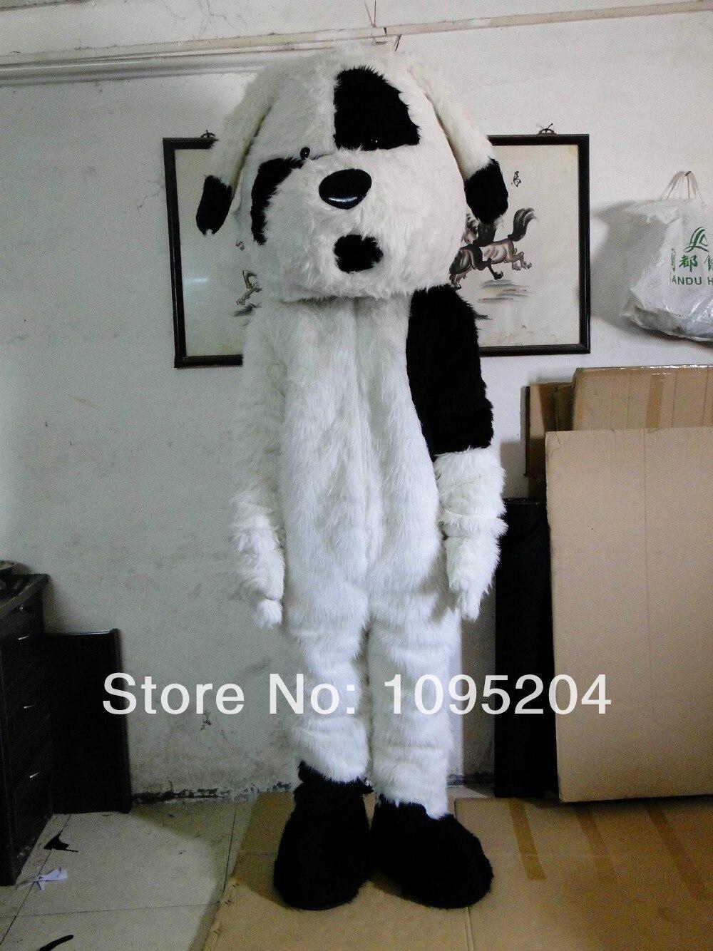 לבן ושחור כלב קמע תלבושות תחפושת Cartoon Mascotte תלבושת מס 2514 משלוח ספינה