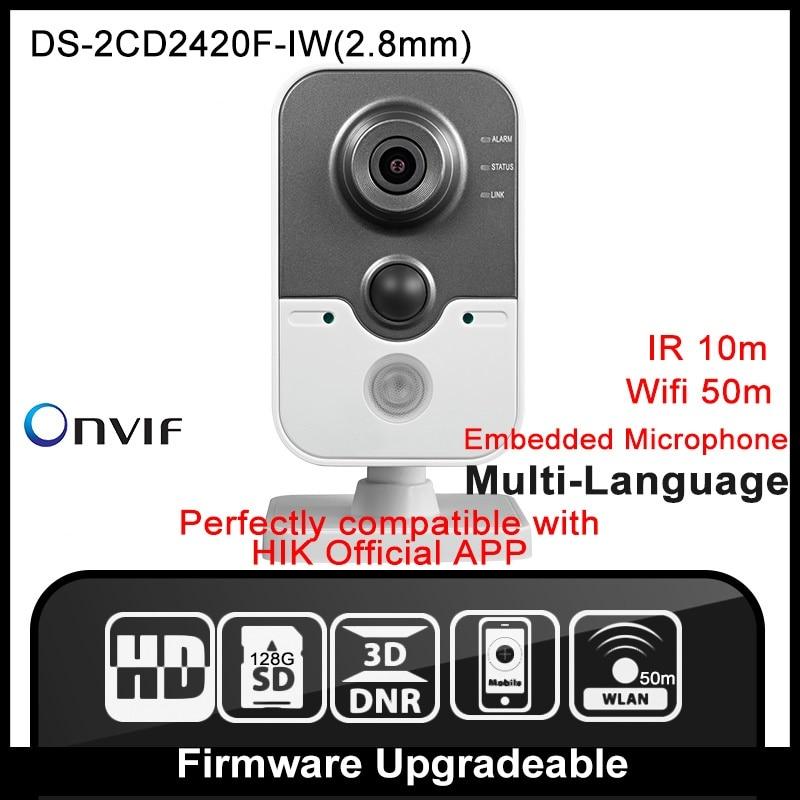 Buy HIK DS-2CD2420F-IW(2.8mm) Original English Version IP Camera 2MP Support POE WIFI Mini Camera IP Camera P2P Onvif HD HIK